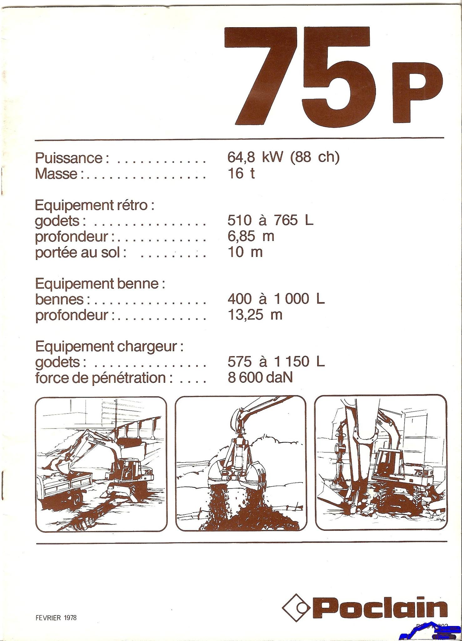 Technique Poclain 75 P