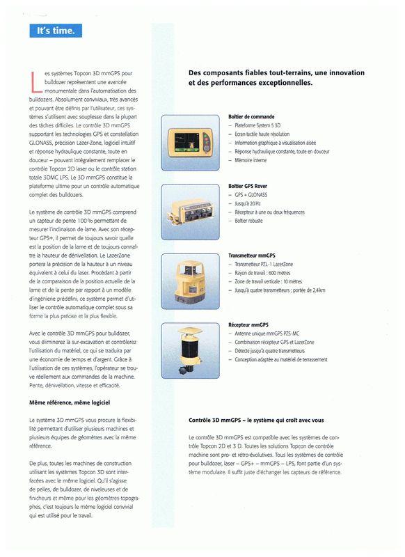 Topcon contrôle mm gps pour bulldozer