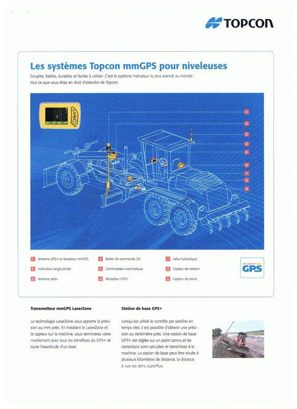 Topcon contrôle mm GPS pour niveleuses